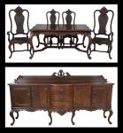 a) Mesa de jantar elástica com 2 tábuas de extensão em jacarandá, estilo