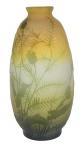 EMILLE GALLÉ (FRANÇA, 1900). Vaso ovoide art nouveau em pasta de vidro acidado, decorado com ramos,