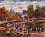 """SÉRGIO TELLES (1936). """"Dimanche dans le Jardin du Luxembourg"""", óleo s/ tela, 55 x 65 . Assinado no c.i.d., datado (1998) e localizado no verso. Reproduzido com foto no catálogo."""