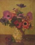 "HENRI FARRE (E.U.A., 1871-1934). ""Vaso de Flores"", óleo s/ tela, 39 x 31. Assinado no c.i.d."