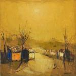 """ROMANELLI, ARMANDO (1945). """"Paisagem Rural com Casebres"""", óleo s/ eucatex, 35 x 35. Assinado no c.i.d. e no verso (1978)."""