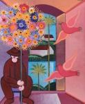 """ADELSON DO PRADO (1944 - 2013). """"Vendedor de Flores"""", óleo s/ tela, 46 x 38. Assinado e datado (1987) no c.s.d. e no verso."""