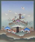 """NELSON PORTO (1950-1987). """"Sermão aos Pássaros"""", acrílico s/ tela, 46 x 38. Assinado e datado (1983) no c.i.d. e no verso."""