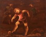 """TERUZ, ORLANDO (1902-1984). """"Meninos Jogando Bola"""", óleo s/ tela, 81 x 100. Assinado,  datado (1976) e localizado (Rio) no verso. Reproduzido com foto no catálogo."""