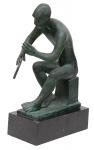 """BRUNO GIORGI (1905-1993). """"Flaustista"""", escultura em bronze patinado. Base em granito negro. Alt.: 56cm. Assinado. Década de 50. Reproduzido com foto no catálogo."""