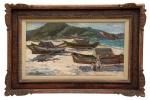 """OSWALDO TEIXEIRA (1905 - 1974). """"Canoas e Meninos na Praia dos Anjos - Cabo Frio"""", óleo s/ madeira, 39 x 71, assinado no c.i.e. e no verso (1964). Reproduzido com foto no catálogo."""