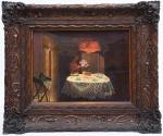 """PEDRO WEINGARTNER (1853 - 1929). """"Ornamentando a Mesa Para a Hora do Chá"""", óleo s/ tela, 30 x 40. Assinado e datado (1925) no c.i.e. Reproduzido com foto no catálogo."""