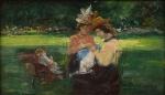 """VISCONTI, ELISEU (1866-1944). """"França e Arredores (Jardin du Luxembourg - Paris)"""", óleo s/ madeira, 12,5 X 21,5. Assinado e datado (1905) no c.i.d. Esta obra encontra-se registrada no """"Catálogo de Obras do Projeto Eliseu Visconti"""" sob o nº """"P690"""". Reproduzido com foto no catálogo."""